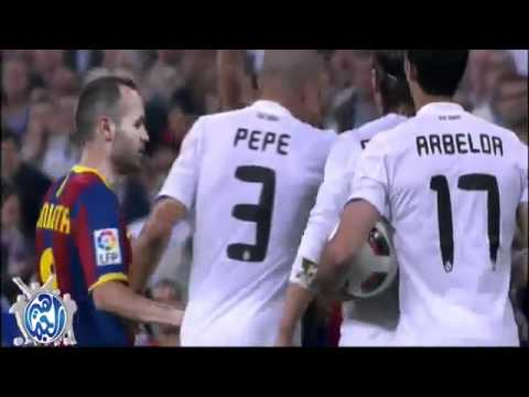 Messi shoots the ball to Real Madrid fans