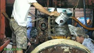 Toàn cảnh lắp ráp pitton động cơ CUMMINS 290 USA.