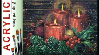 Christmas Candles & Holly Leaves. How To Paint🎨ACRYLIC New Year DEMO Tutorial