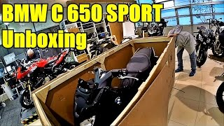 BMW C650Sport Unboxing, walk around, first run. Распаковка и сборка BMW C650 Sport