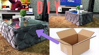 #diy #decoration  Luxury Tufted CoffeeTable Made With Cardboard Boxes