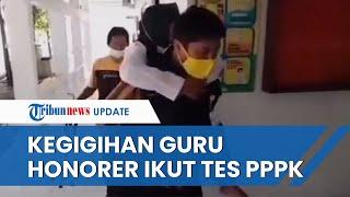 Viral Video Guru Honorer Digendong Petugas saat Tes PPPK, Tetap Gigih Meski Stroke dan Pakai Tongkat