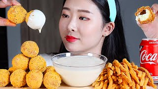 뿌링치즈볼 뿌링감자 뿌링뿌링소스 리얼사운드먹방/CHEESE BALLS Cheese Fries Mukbang Eating Show チーズボール BolaKeju Phô Mai Viên