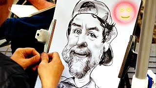 Drawing one funny portrait in 10 minutes.