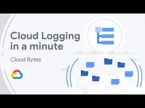 """Diapositiva del título de una presentación en vídeo donde pone """"Cloud Logging in a minute"""" de la serie Cloud Bytes"""