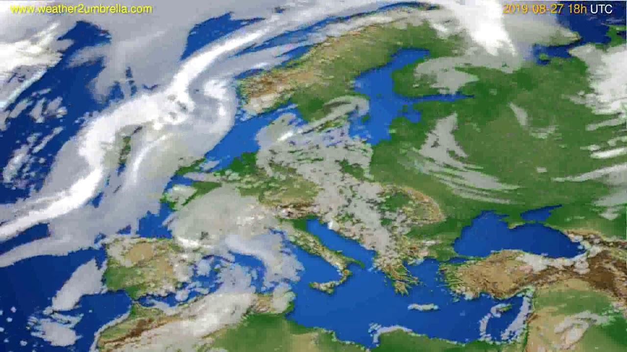 Cloud forecast Europe // modelrun: 00h UTC 2019-08-25