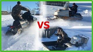 Снегоход Буран, Тайга или мотобуксировщик толкач? Сравнительный тест в заснеженную горку