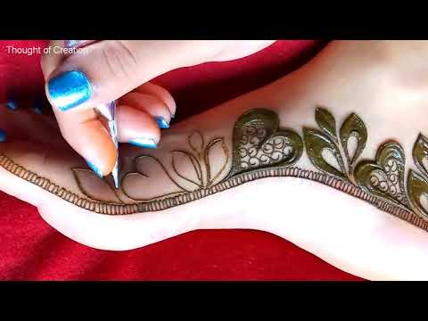 stylish leg mehndi heart shaape design by thought of creation