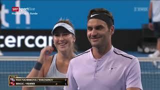 Hopman Cup Perth Doppel Federer Bencic vs Russian