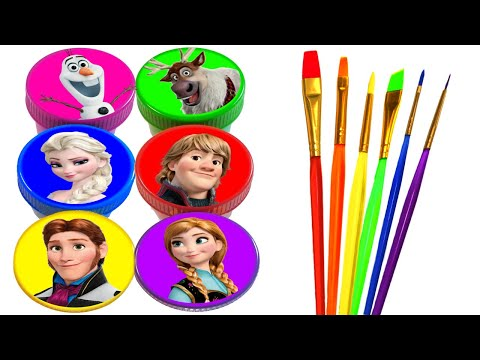 Disney Princess Drawing and Painting Rainbow Colors for Kids Frozen Elsa, Anna, Ariel, Rapunzel