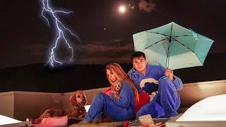 SPENDING THE NIGHT ON OUR ROOF IN A STORM!