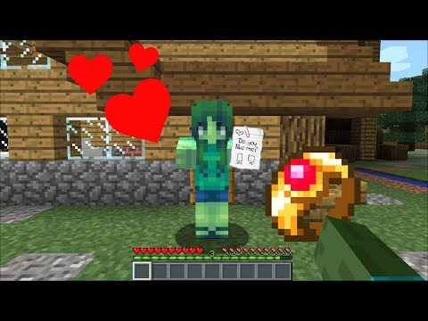 Minecraft MARK FRIENDLY ZOMBIE GETS MARRIED TO HIS GIRLFRIEND MARIE !! ZOMBIE LOVE !! Minecraft Mods