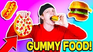 GUMMY FOOD vs REAL FOOD! *EATING GIANT GUMMY FOOD!*