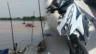Pengendara Motor Tertabrak Mobil Box lalu Tercebur ke Sungai, Korban Belum Ditemukan