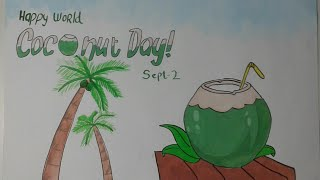 World Coconut Day Poster | Drawing & Painting World Coconut Day