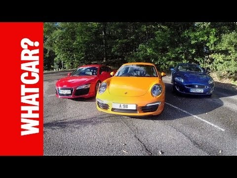 Audi-R8-v-Porsche-911-v-Jaguar-XKR-What-Car-reviews-everyday-supercars