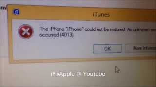 Fix iphone 5 5S 6 7 4013 error on itunes