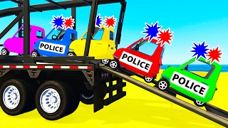 SMALL POLICE CARS Transportation in Spiderman Cartoon for Kids & Colors for Toddlers Nursery Rhymes