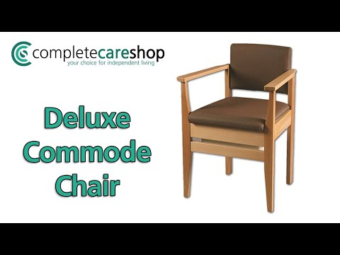 Rich Brown Deluxe Commode Chair - High-Grade Solid Wood