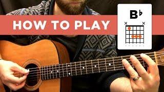 ⭐️ How to play the B-FLAT chord (Bb), easy way & hard way