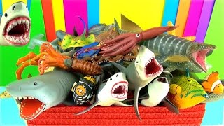 Gambar cover Shark Toys Collection Whales Fish Turtles Toys for Kids Tiburón Tubarão Jaws