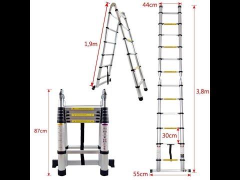 Teleskopleiter| Alu-Klappleiter| 3,8M| 13kg| Max.150kg| 12 Sprossen|