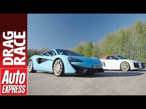 Audi R8 V10 Plus vs McLaren 570S Spider drag race - British vs German supercar power battle