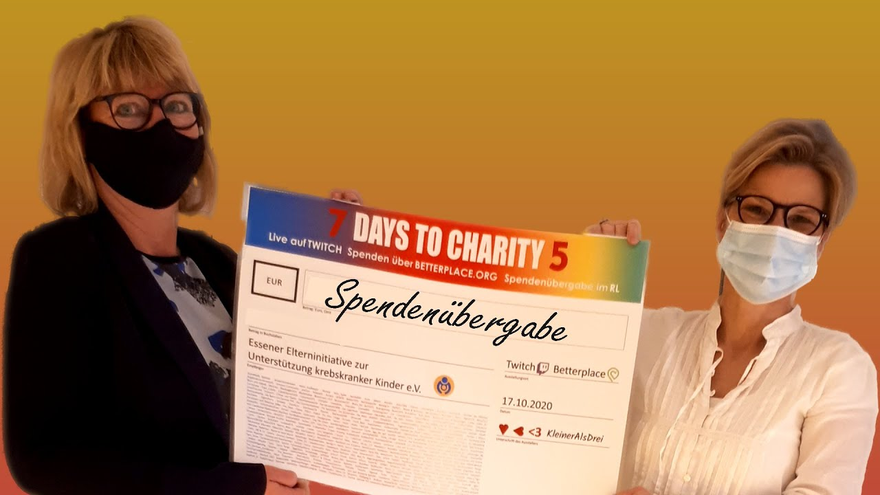 7 DAYS TO CHARITY 5 💗 💙 💚 SPENDENÜBERGABE 💛 💜 🖤 #KleinerAlsDrei #7DaysToCharity thumbnail
