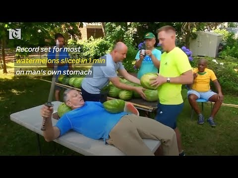 Record set for most watermelons sliced in 1 minute on man's own stomach