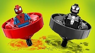 Битва Кружитцу! Человек паук против Венома! Новые Лего мультики 2018. Волчки, Бейблэйды, Ниндзяго