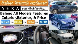 Maruti Baleno 2018 Variants Explained | Sigma,Delta,Zeta,Alpha Features,Price,Interior and Exterior