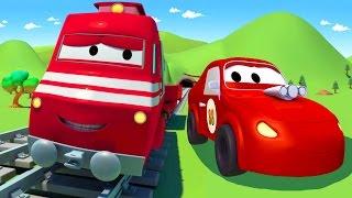 Поезд Трой и Гоночный автомобиль в Автомобильный Город  Мультфильм для детей