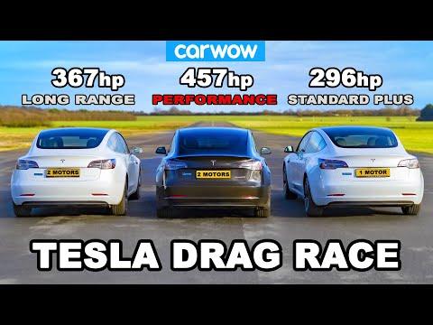 テスラ モデル3を徹底比較!グレード別にドラッグレースを行って直線加速を比較した動画
