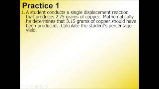 Percent Yield Practice 1