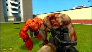 Сражение против 5 танков из Left 4 Dead 2.