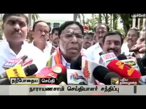 Puducherry--Chief-minister-designate-Narayanasamy-briefing-reporters-about-the-documents-submitted