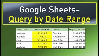 Google Sheets Query by Date Range