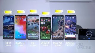 P20 Pro vs OnePlus 6 vs LG G7 vs S9 Plus vs Pixel 2 XL vs iPhone X Battery Test