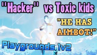 "Default Skin ""Hacker"" Exposes Toxic Squeakers in 1v2 - Fortnite Playgrounds vs Dumb kids"