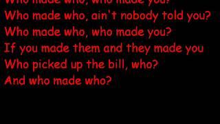 AC/DC Who made who lyrics