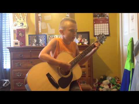 "8 year old Jimmy playing Neil Young's ""Old Man"".  I'm extremely proud of him!"