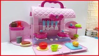 Đồ chơi nhà bếp nấu ăn trẻ em 26 món, đựng trong túi xách nơ hồng, trò - Kitchen toys (Chim Xinh)