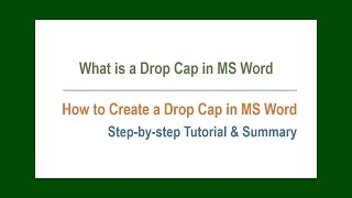 What Is Drop Cap In MS Word | How To Create A Drop Cap Easily