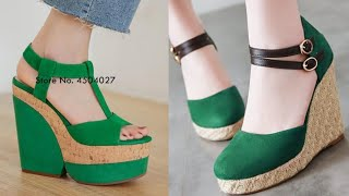 BEAUTIFUL GREEN FASHION  FOOTWEAR DESIGN SANDAL SHOES COLLECTION FOR WOMEN NEW LATEST STYLISH BOOTS
