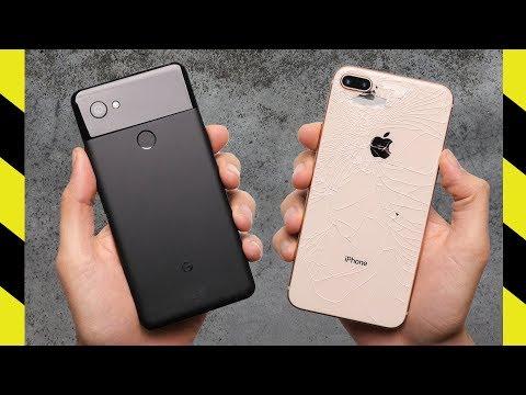 Google Pixel 2 XL vs iPhone 8 Plus si sfidano in un drop test