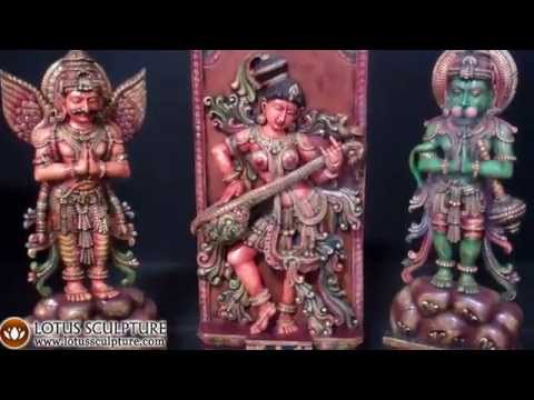 SOLD Wooden Namaste Garuda Sculpture 48