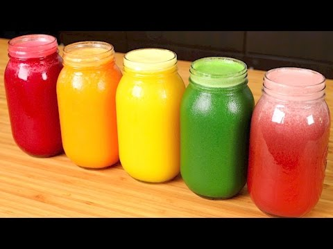 Video 5 HEALTHY JUICE recipes (for weight loss, glowing skin, hair, detox, and cleanse)