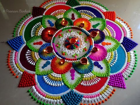 diwali rangoli big flower design by poonam borkar