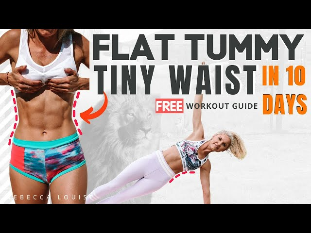 TINY WAIST AB at home WORKOUT. GET A FLAT TUMMY routine & BURN FAT – no equipment | Rebecca Louise
