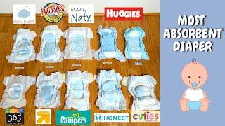 Ultimate Diapers Absorbency Test of Top 10 Brands including Pampers, & Huggies